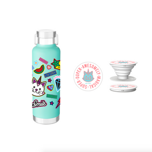 Stamped Water Bottle & Popsocket Combo