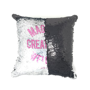 Sequin PIllow - Silver Magical Creatures