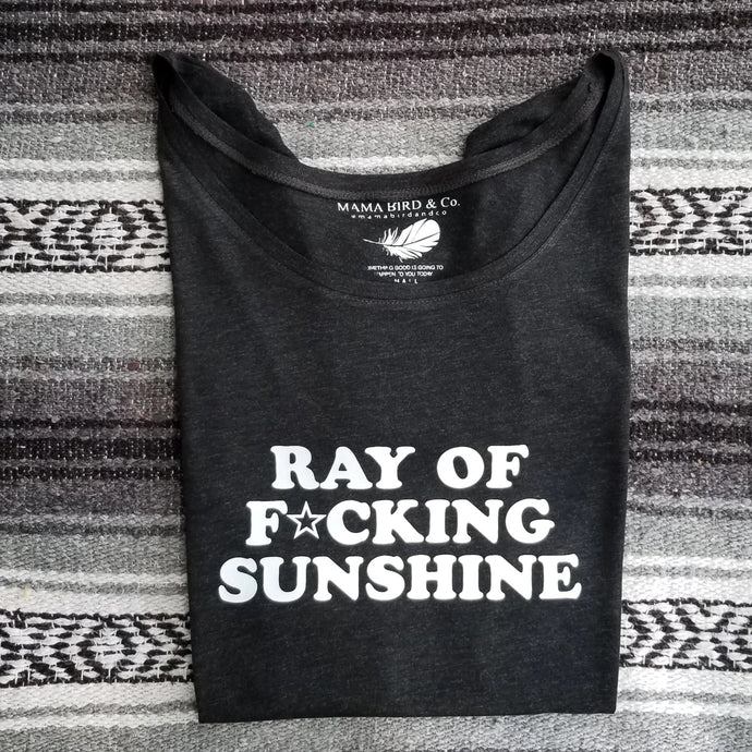 RAY OF F★CKING Sunshine Tees - Off Shoulder Charcoal Gray