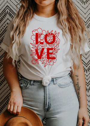 Load image into Gallery viewer, LOVE, Floral - Boyfriend Tee