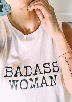 Badass Woman, Typewriter Font - Muscle Tank