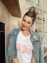 Load image into Gallery viewer, PEACE & LOVE Tee - Red Ink