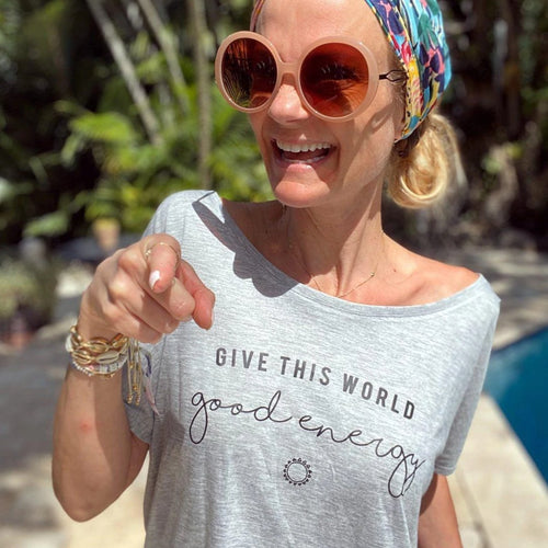 GIVE THIS WORLD GOOD ENERGY - Off Shoulder Tees