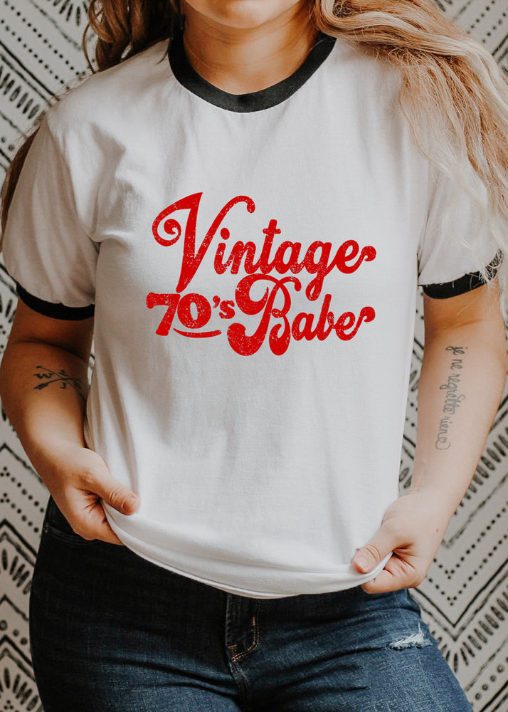 Vintage 70s Babe - Retro Fitted Ringer