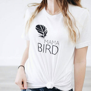Load image into Gallery viewer, MAMA BIRD, White Boyfriend Tee, Mama Bird, Mama Bird Tee, Mama Bird T-shirt, Mama Bird Shirt, Mama Bird, Mama Bird Top