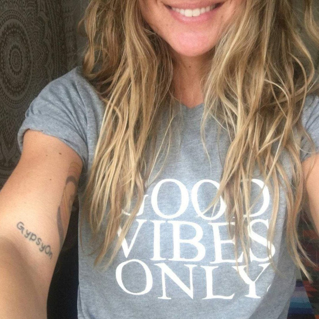 GOOD VIBES ONLY, Solid Gray Boyfriend Tee, Good Vibes Only, Good Vibes Tee, Good Vibes Only Shirt, Good Vibes Only Tshirt, Good Vibes Shirt