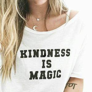 Load image into Gallery viewer, KINDNESS IS MAGIC Off Shoulder Tee, Kindness Tee, Kindness Is Magic, Kindness Matters, Be Kind Tee, Kind Tee, Kindness Is Magical
