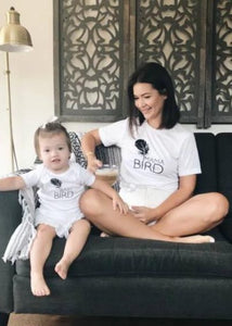 2 Piece SET, Mama Bird + Baby Bird Set, Black Ink, Mommy and Me T, Mama Bird, Baby Bird, Mommy T, Mama Bird Tee, Mama Bird Set, Mama Bird