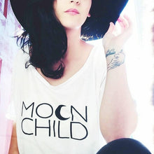 Load image into Gallery viewer, MOON CHILD Off Shoulder Tshirt, Moon Child Tee, Moon Child, Stay Wild Moon Child, Moon Child Shirt, Moon Child T, Moon Child T, Moon Child