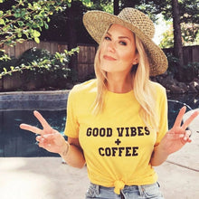 Load image into Gallery viewer, GOOD VIBES + COFFEE Yellow Gold Tee, Good Vibes, Good Vibes Only, Coffee tee, Coffee shirt, Coffee gifts, Coffee Tshirts