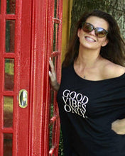 Load image into Gallery viewer, GOOD VIBES ONLY, Black Off Shoulder Tee, Good Vibes Only Tshirt, Good Vibes Only Shirt