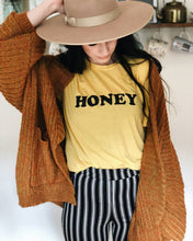 Load image into Gallery viewer, HONEY Tee, Honey tshirt, Honey Tshirts, Yellow Tops, Retro Be Kind, Be Kind Tees, Kindness Tops. HONEY