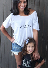 Load image into Gallery viewer, 2 Piece SET, Mama Heart Off Shoulder Tee, Mama Shirts, Mama Tee, Mama Top, Mama Tshirt, Mom Life Tshirt, Mama Shirt, Mom Tee, Mom Tshirt