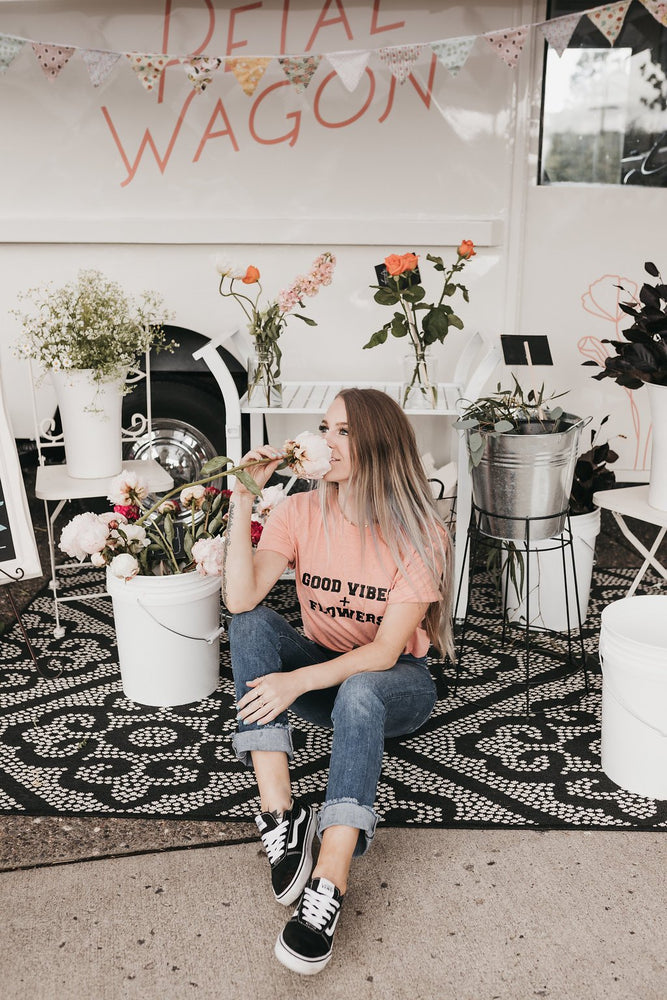 Good Vibes + Flowers - Boyfriend Tee