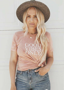 GOOD VIBES ONLY, Peach Tee, Good Vibes Only Tee, Good Vibes Shirt, Good Vibes Only Top, Good Vibes Tshirt, Good Vibes Tees, Good Vibes Only