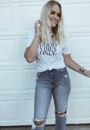 GOOD VIBES ONLY, White Tee, Good Vibes Only Tee, Good Vibes Shirt, Good Vibes Only Top, Good Vibes Tshirt, Good Vibes Tees, Good Vibes Only