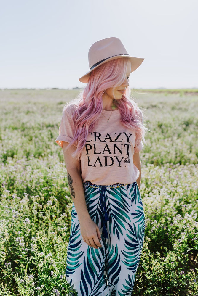 Load image into Gallery viewer, CRAZY PLANT LADY Tshirt, White Marble Tank, Plant Obsessed, Plant Tshirt, Plant Lady Tshirt, Crazy Plant Lady Tee, Crazy Plant Lady T
