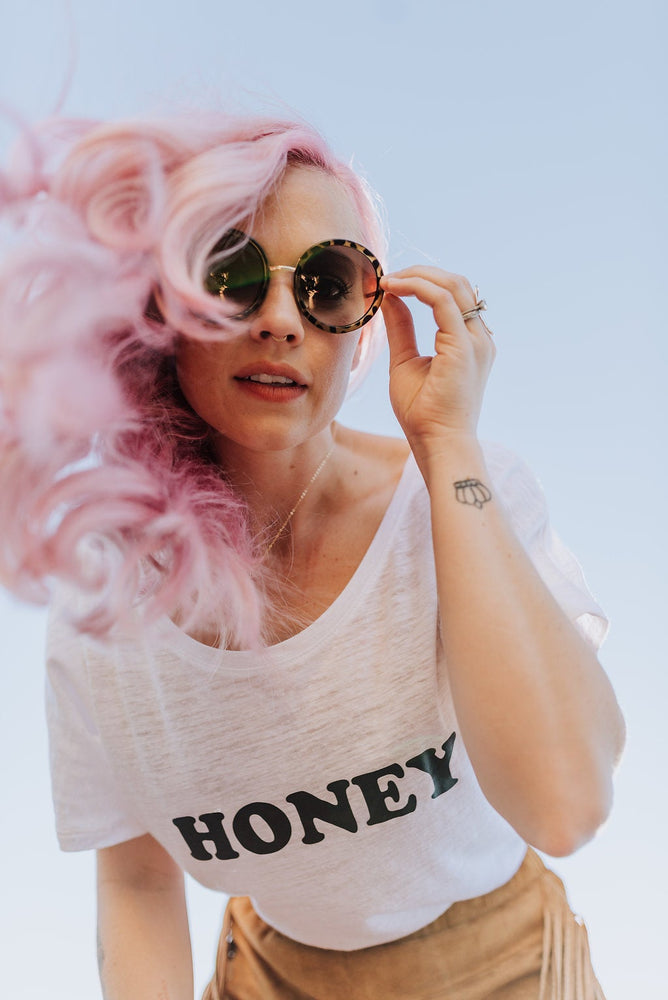 Load image into Gallery viewer, HONEY Tee, White Honey tshirt, Honey Tshirts, white tee, HONEY shirt