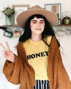 HONEY Tee, Honey tshirt, Honey Tshirts, Yellow Tops, Retro Be Kind, Be Kind Tees, Kindness Tops. HONEY