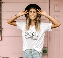 Load image into Gallery viewer, MOON CHILD Basic Boyfriend Tee, Moon Child T, Moon Child, Stay Wild Moon Child, Moon Child Shirt, Moon Child T, Moon Child T, Astrology Tee