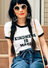Load image into Gallery viewer, KINDNESS IS MAGIC Ringer Tee, Kindness Tee, Kindness Is Magic Tshirt, Kind Tee, Be Kind, Kindness, Kindness is Magic Tshirts, Kindness Tee