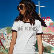 Load image into Gallery viewer, BE KIND Ringer Tee, Kind tshirt, Be Kind Tshirts, Be Kind Tops, Retro Be Kind, Be Kind Tees, Kindness Tops, Ringer Tshirt