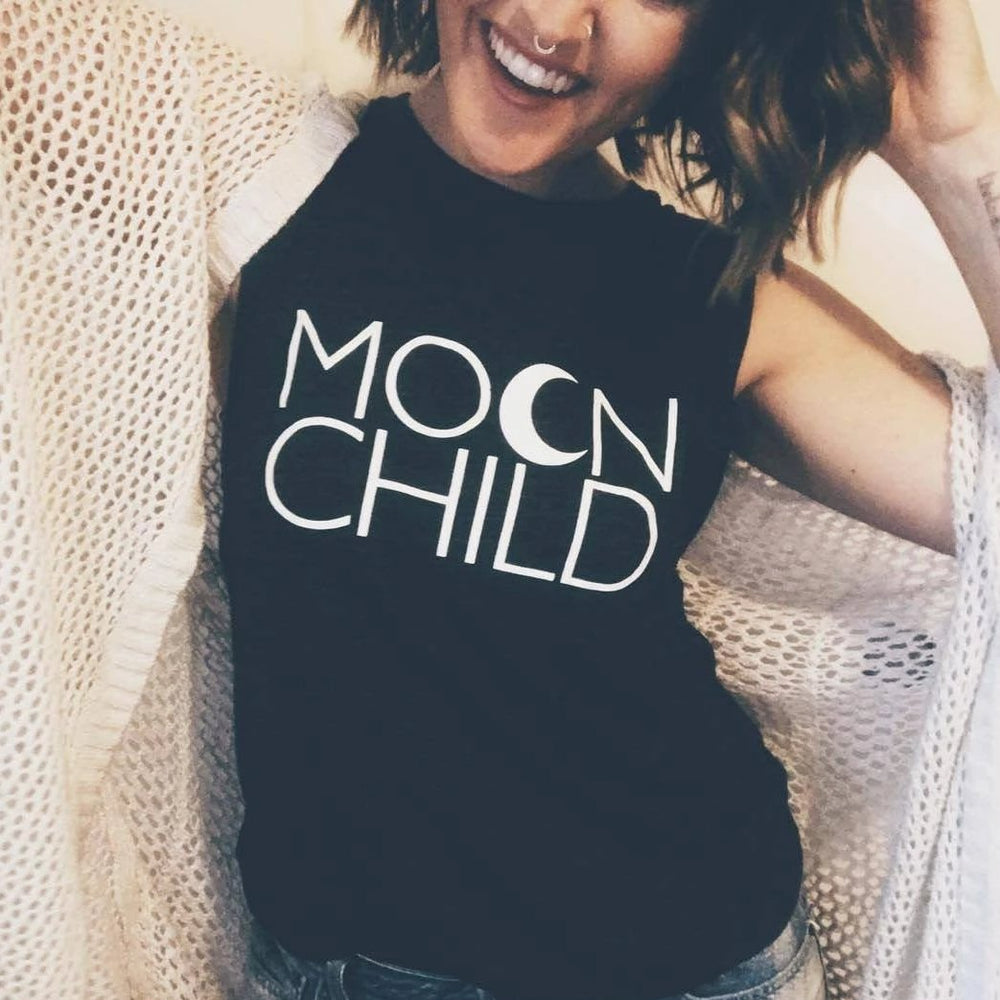 Load image into Gallery viewer, MOON CHILD Tees, Moon Child, Moonchildren, Moon Tee, Moon Child Tee, Moon Child Tshirt, Moon Shirt, Cancerian Tee, Moon Tshirts, Astrology T
