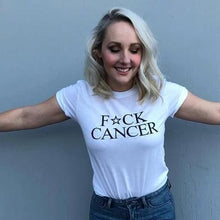 Load image into Gallery viewer, FCK Cancer, Eff Cancer, F Cancer, FU Cancer, Badass Woman, Badass Women, Badass Woman Tshirts, Badass Tshirts, Badass Tees