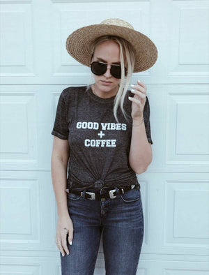 Load image into Gallery viewer, GOOD VIBES COFFEE Acid Wash Tee, Good Vibes , Coffee Tee, Coffee Lovers, Coffee Shirt, Coffee Gift, Mama Bird