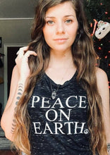 Load image into Gallery viewer, PEACE ON EARTH, Black Tee or Tank, Peace Tshirt, Peace On Earth Tshirt, Mama Bird & Co