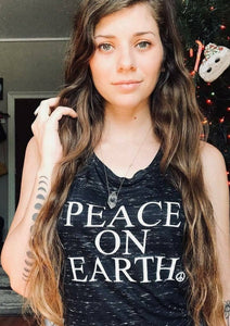 PEACE ON EARTH, Black Tee or Tank, Peace Tshirt, Peace On Earth Tshirt, Mama Bird & Co