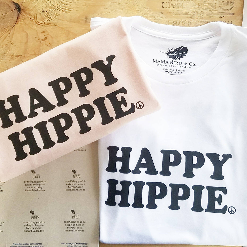 HAPPY HIPPIE Tees, Hippie Tee, Hippie Tshirts, Hippie Tops, Hippie Mom Tees, Hippie Shirts