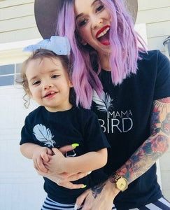 2 Piece SET, Black, Mama Bird + Baby Bird Set, Black Ink, Mama Bird Tshirts, Mama Bird, Baby Bird, Mommy T, Mama Bird Tee, Mama Bird Set
