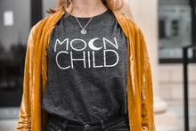 Load image into Gallery viewer, MOON CHILD Tee, Off Shoulder, Moon Child, Moonchildren, Moon Child Tee, Moon Child Tshirt, Moon Shirt, Cancerian Tee, Moon Tshirts