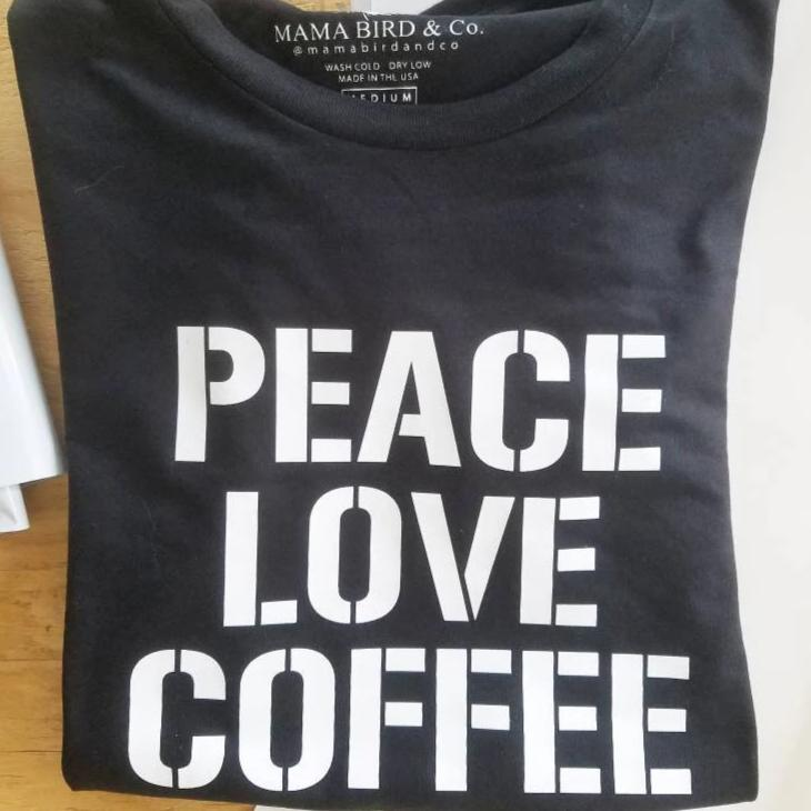 PEACE LOVE COFFEE, Coffee Tshirts, Coffee Shirts, Coffee Tshirt, Peace Love Coffee Tshirt