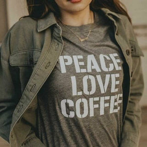 PEACE LOVE COFFEE, Peace Tshirts, Coffee Tshirts, Coffee Shirts, Coffee Tshirt, Peace Love Coffee Tshirt