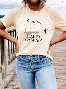 HAPPY CAMPER, Happy Camper Tshirt, Happy Camper Tank, Airstream Tshirt, Moon Tshirt, Happy Camper Shirt