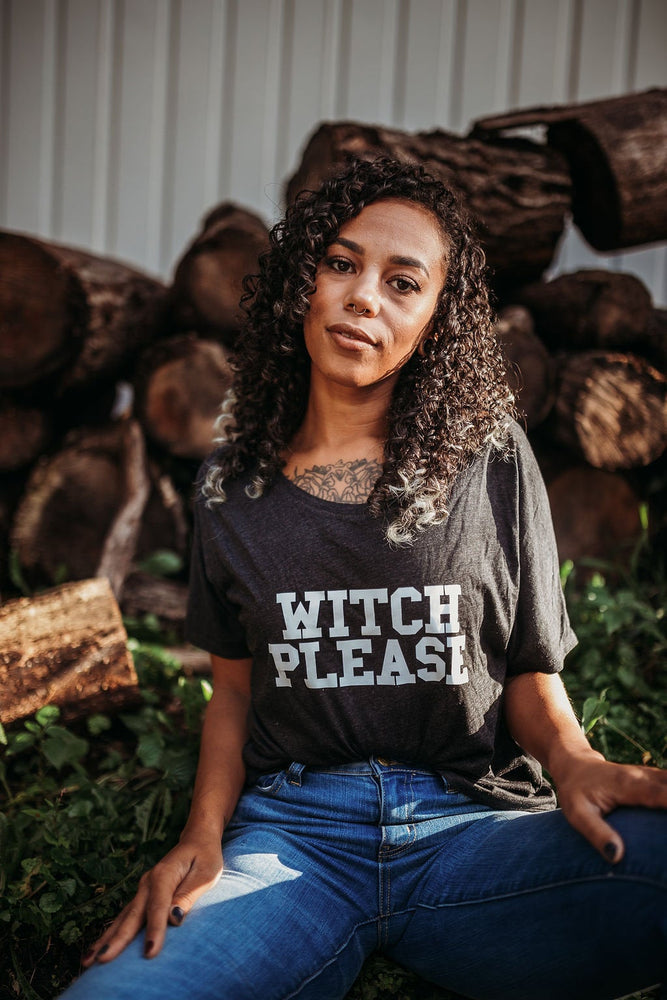 WITCH PLEASE, Gray Off Shoulder, Witch Please, Witch Please Tee, Witch Tees, Witchy Tshirts, Witch Please Shirts, Witch Tshirts