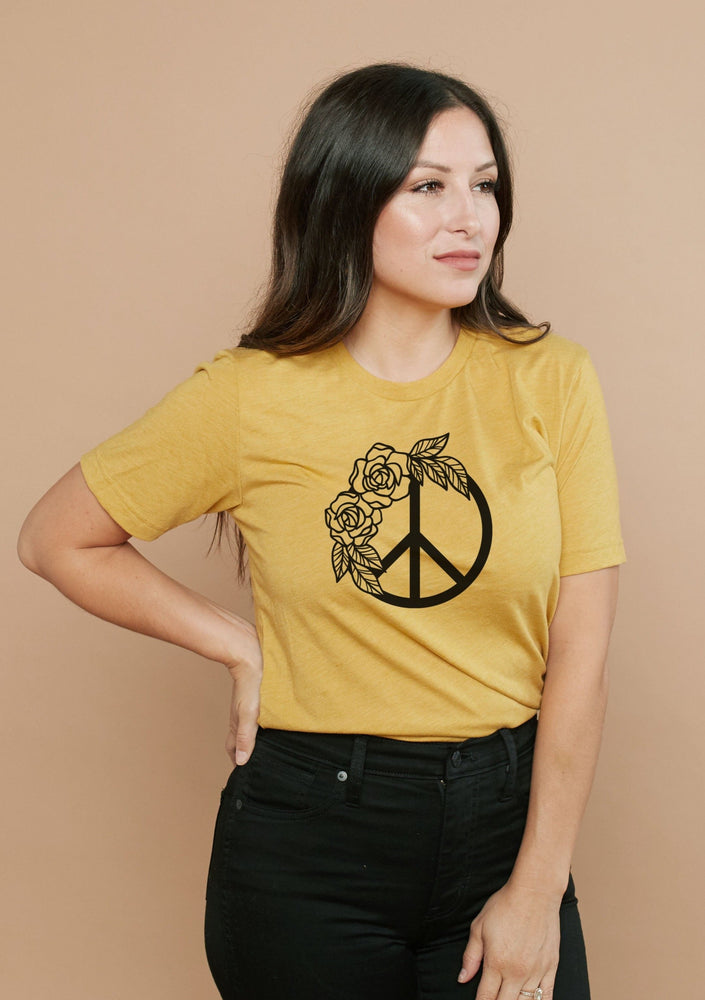Load image into Gallery viewer, Peace Floral - Boyfriend Tee