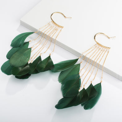 Jemond Bohemian Feather Tassel Earrings