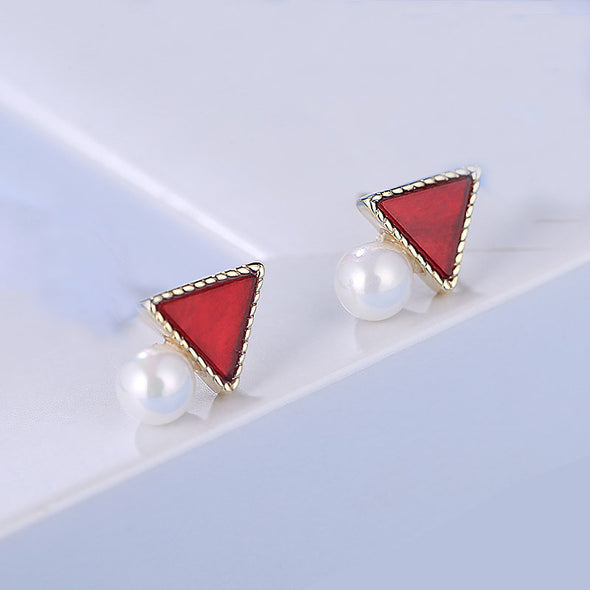 Jemond Triangle Shell Pearl Earrings