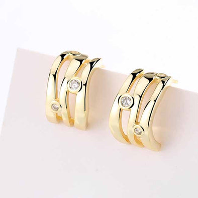 Jemond Silver Geometric Golden Hoop Earrings