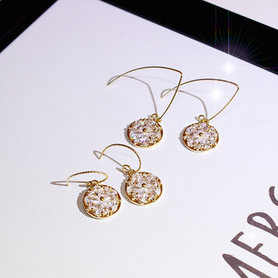Jemond Zircon Flower Disc Earrings Drop Earrings