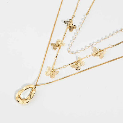 Jemond Irregular Butterfly Bulti-layer Necklace