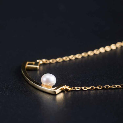 Jemond Silver Pearl Simple Necklace
