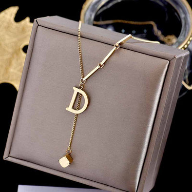 Jemond Titanium Steel Letter D Pendant Necklace
