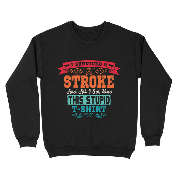 Fun Gift Idea - Stroke Survivor Retro Awareness - Standard Crew Neck Sweatshirt