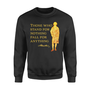 Politics gift idea Hamilton Quote History USA Silhouette T-Shirt - Standard Fleece Sweatshirt
