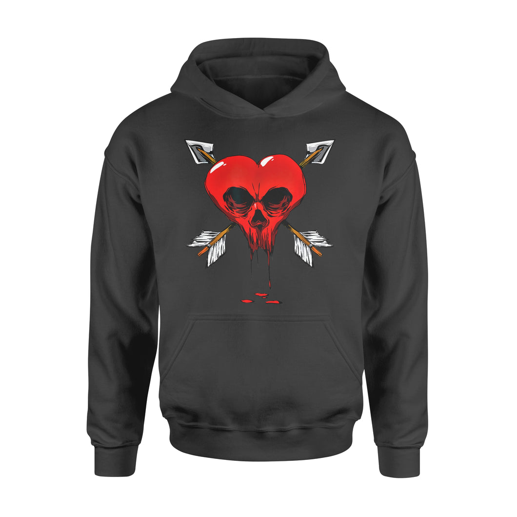 Funny Gift Idea Gothic Skull Heart Valentines Day - Standard Hoodie