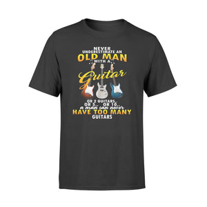 Never Underestimate An Old Man With A Guitar - Premium T-shirt